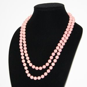 Beautiful vintage LONG pink necklace 48""